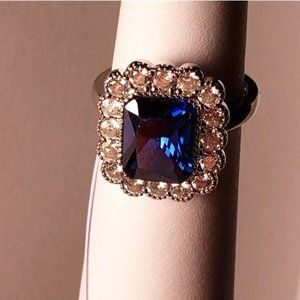 Blue Sapphire White accent Halo Wedding Ring 8